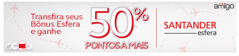 Promoção: 50% de bônus nas transferências entre os programas de fidelidade Santander SuperBônus e Amigo