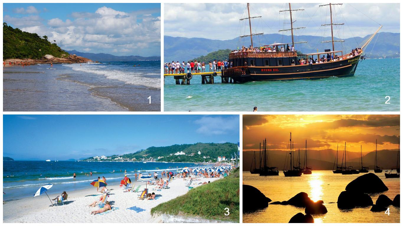 1- Praia Ponta das Canas 2- Barco Pirata em Canasvieiras 3- Jurerê Internacional 4- Pôr-do-sol em Santo Antônio de Lisboa (foto: Heverson Santos)