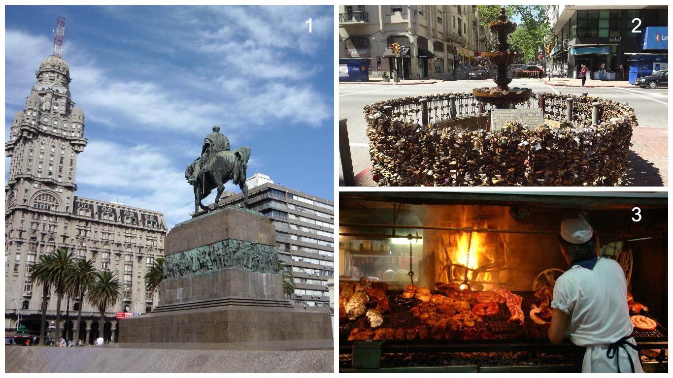 1- Praça da Independência 2- Fonte dos Cadeados 3- Mercado do Porto